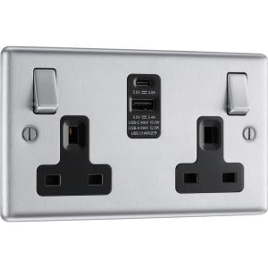 Bg Brushed Steel 13A Black Insert Switched Socket + A & C Type USB 2 Gang + 2 USB 4.2A