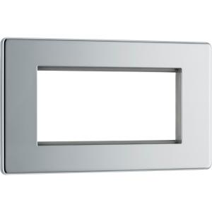Bg Screwless Flat Plate Polished Chrome Data Plate 2 Gang 4 Module