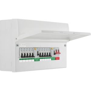 Bg Metal Consumer Unit Dual RCD Type A + 10 MCBs 10 Way