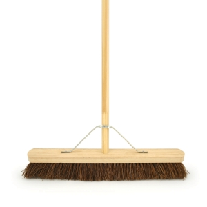 "4TRADE 24"" Coco Broom with Metal Support Bracket and 54"" Handle"