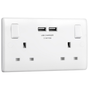 Bg 13A Low Profile Sp USB Switched Socket 2 Gang 3.1A