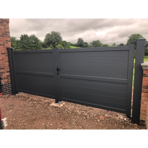 Dartmoor Double Swing Flat Top Driveway Gate with Horizontal Solid Infill 3500 x 1800mm Grey