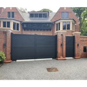 Cambridge Double Swing Flat Top Driveway Gate with Diagonal Solid Infill 3750 x 1800mm Black