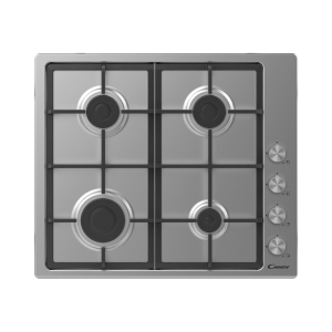 Candy 60cm 4 Burner Gas Hob with Cast Iron Pan Supports Stainless Steel CHG6LPX