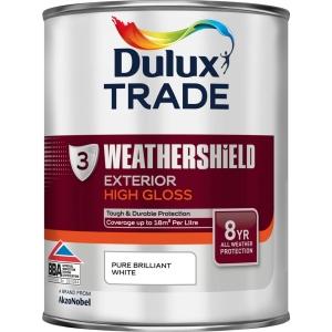 Dulux Weathershield Gloss Paint Pure Brilliant White 1L