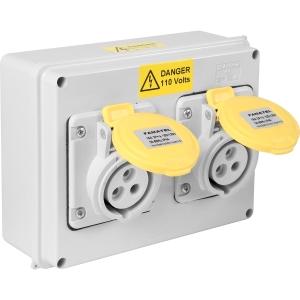 Famatel Uk Ltd Industrial Socket IP44 Twin 110V 16A 2P+E