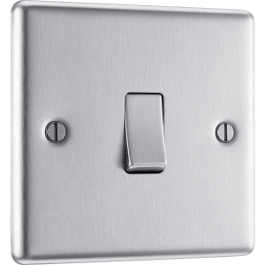 Bg Brushed Steel 10A Switch 1 Gang 2 Way