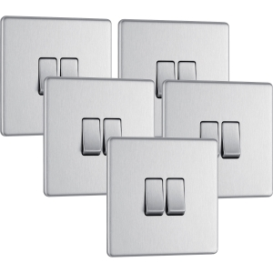 Bg Screwless Flat Plate Brushed Stainless Steel 10AX Light Switch 2 Gang 2 Way Trade Pack
