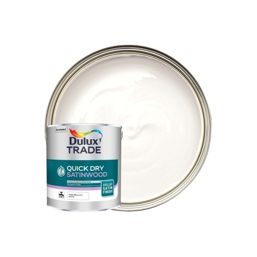 Dulux Trade Quick Dry Satinwood Pure Brilliant White 2.5L