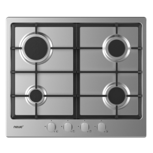 neue 60cm Gas Hob with Cast Iron Pan Supports & Front Rotary Control Stainless Steel NHG6BRX