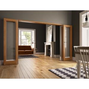 Internal Unfinished Oak Door Fold Flat Room Divider wide
