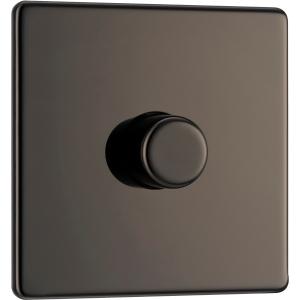 Bg Screwless Flat Plate Black Nickel Dimmer Switch 1 Gang 2 Way