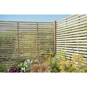 Pressure Treated Contemporary Slatted Fence Panel 1.8m x 1.8m - Pack of 5