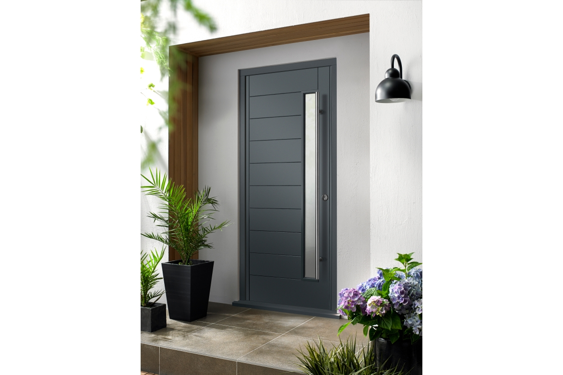 Stockholm Ultimate External Grey Front Door with Outer Frame 852mm x 2079mm