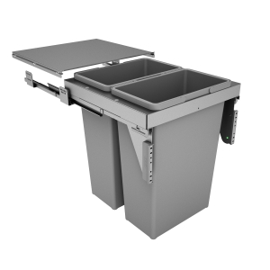 Hafele Stanto 500mm Pull Out Bin with 2 x 35L Compartments Silver/Grey 502.59.533