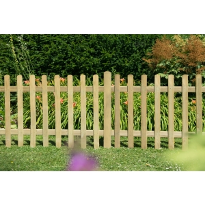 Pressure Treated Ultima Pale Picket Fence Panel 6ft x 3ft (1.83m x 0.9m) - Pack of 3