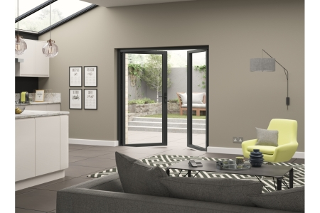 Aluminium External Grey French Door 1190mm wide Open Out