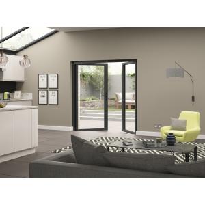 Aluminium External Grey French Door 1490mm wide Open In