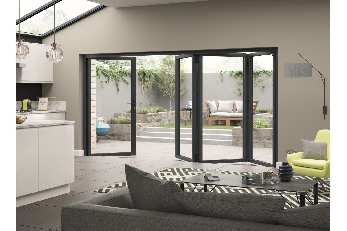 External Aluminium Grey Right Opening Bifold Door Set 3990mm wide