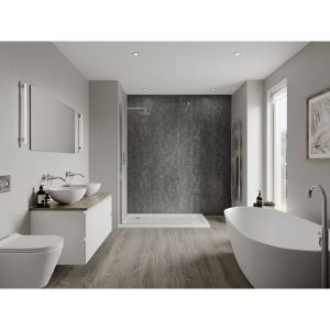 Multipanel Linda Barker Bathroom Wall Panel Hydrolock 2400 x 900mm Graphite Elements 8833
