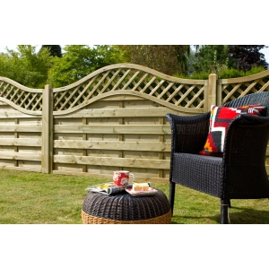 Pressure Treated Decorative Europa Prague Fence Panel 1.8m x 1.2m  - Pack of 4