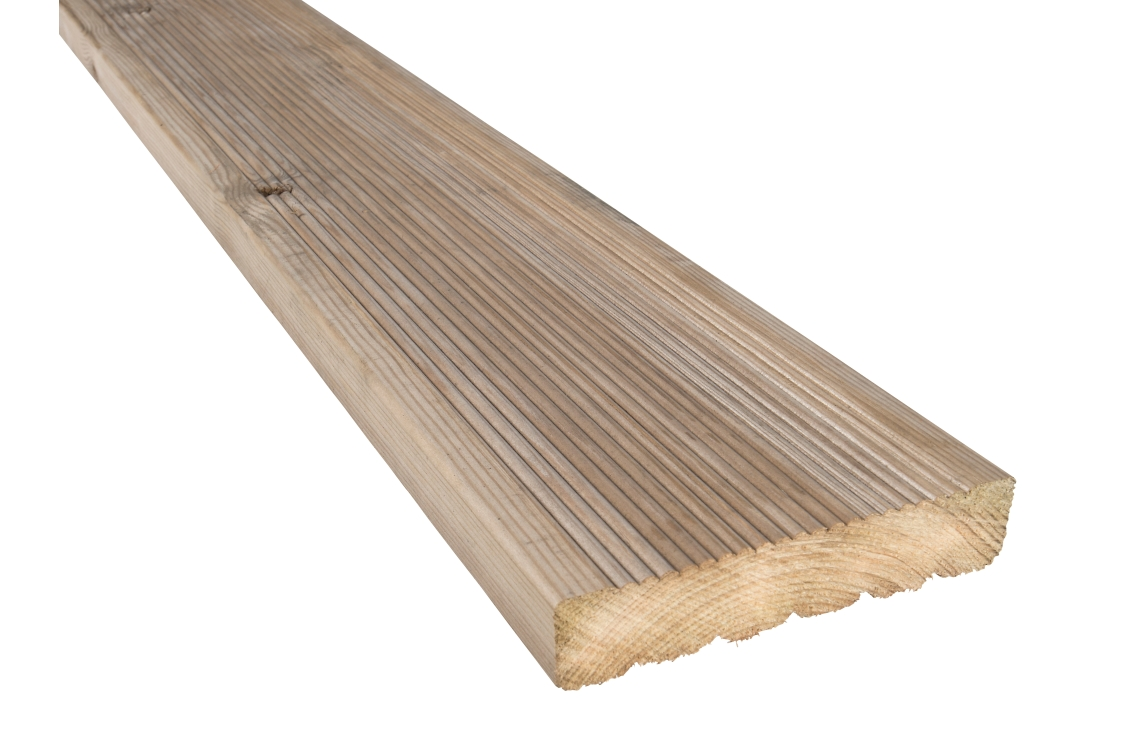 Pressure Treated Timber Decking Board 29mm x 124mm x 3m (Finished Size 26mm x 120 mm x 3m)