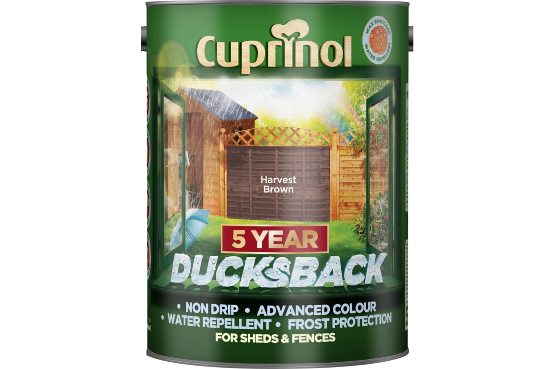 Cuprinol Ducksback Quick Drying Shed and Fence Treatment Harvest Brown 5L 5092432