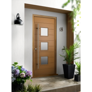 Malmo External Oak Veneer Door 1981 x 762mm + External Oak Veneer Door Frame