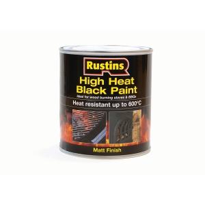 Rustins High Heat Resistant Paint Black 500ml