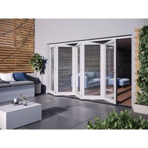 JELD-WEN Bedgebury Finished Solid Hardwood Patio Bifold Door Set White - 2094 x 3594 mm