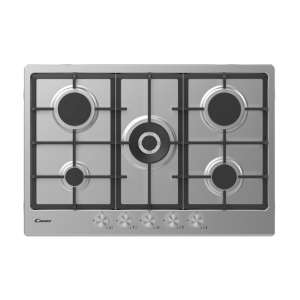 Candy 75cm 5 Burner Gas Hob with Cast Iron Pan Supports Stainless Steel CHG74WPX