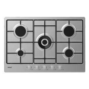 neue 75cm Gas Hob with Enamel Pan Supports & Front Rotary Control Stainless Steel NHW74WX