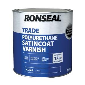 Ronseal Trade Polyurethane Satincoatclear Satin Varnish 2.5L