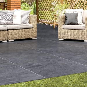 Vitripiazza Bellstone Porcelain Paving Anthracite 600x600x20mm Pack of 64