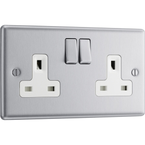Bg Brushed Steel 13A Dp White Insert Switched Socket 2 Gang