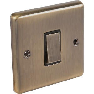 United Electrical Products Ltd Antique Brass Switch 1 Gang Intermediate