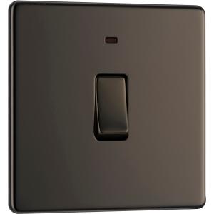 Bg Screwless Flat Plate Black Nickel 20A Dp Switch Switch & Neon