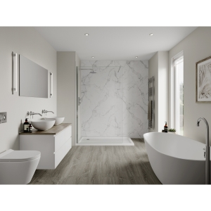 Multipanel Linda Barker Bathroom Wall Panel Unlipped Calacatta Marble 3460