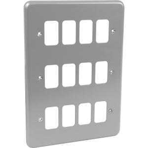 MK Grid Plus Metal Front Plate 12 Gang