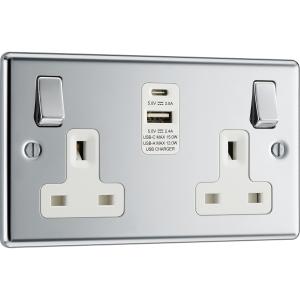Bg Polished Chrome 13A Switched Socket + A & C Type USB 2 Gang + 2 USB 4.2A