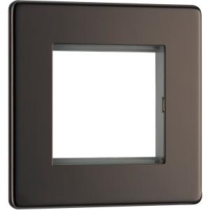 Bg Screwless Flat Plate Black Nickel Data Plate 1 Gang 2 Module