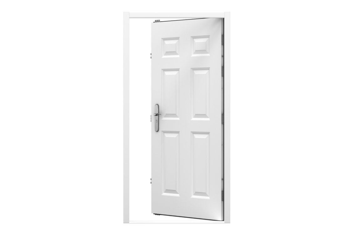 Lathams 6 Panel Steel Door 895 x 2020mm Rh Inward
