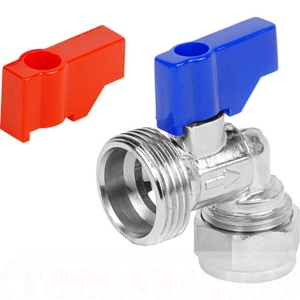 Plumbright Washing Machine Tap Chrome Plated Angle 15mm x 3/4in