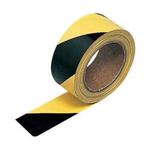 Greenhams Contractor Hazard Warning Tape Self Adhesive Black Yellow 33m x 50m