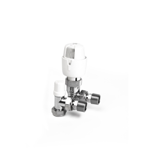 I-THERM 15TWINA.1 Angled Thermostatic Radiator Valve with Lockshield 15mm