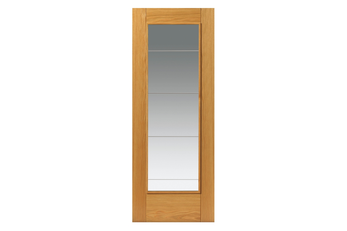 Internal Oak Medina Internal Prefinished Glazed Door 35 x 1981 x 838mm