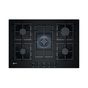 Neff N70 T27CA59S0 5 Burner Gas Hob with Cast Iron Pan Supports Black Glass 75cm