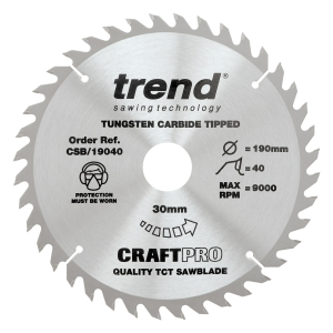 Trend Craft Saw Blade 190mm x 40T x 30mm