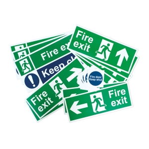 Spectrum Fire Exit Self Adhesive Signage Pack Small