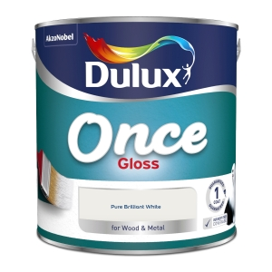 Dulux Once Gloss Paint Pure Brilliant White 2.5L